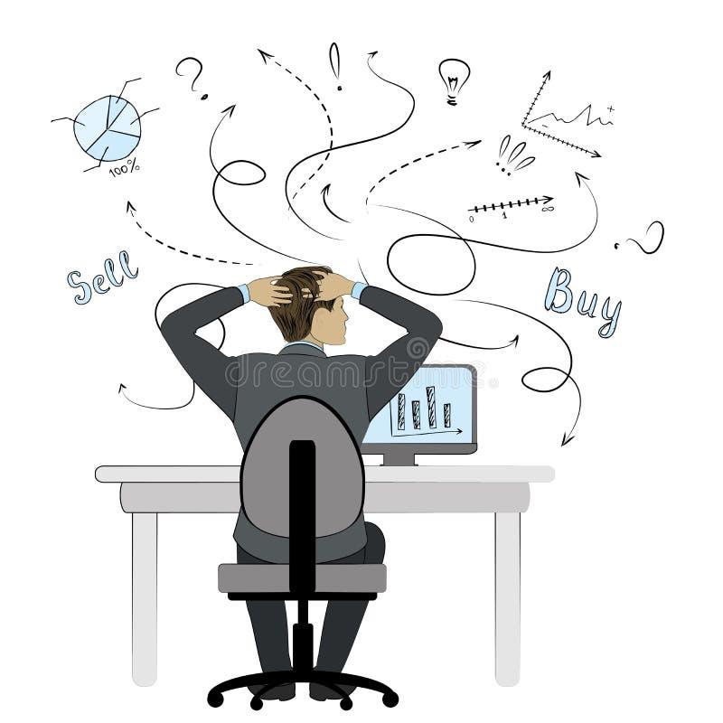 working för datorman Affärsman eller kontorsarbetare Plan stil stock illustrationer
