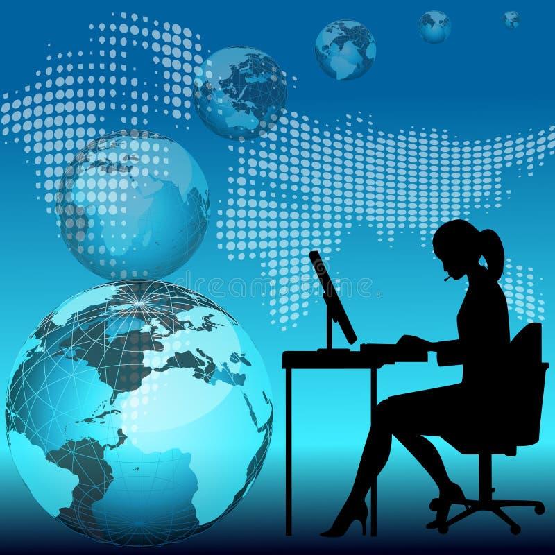 working för kvinna för affärsdator royaltyfri illustrationer