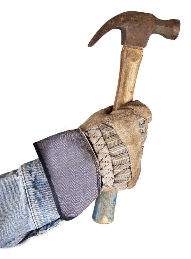 working för man för hammarehandhandyman holding isolerad arkivfoto