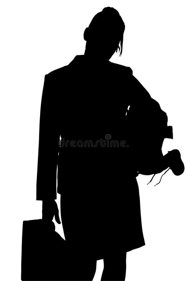 working för silhouette för clippingmombana royaltyfria bilder