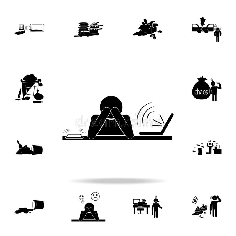 Working fatigue icon. Detailed set of chaos element icons. Premium graphic design. One of the collection icons for websites, web. Design on white background royalty free illustration
