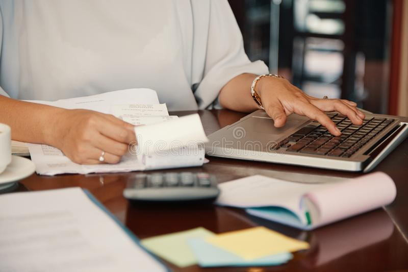 Working with finances stock photo