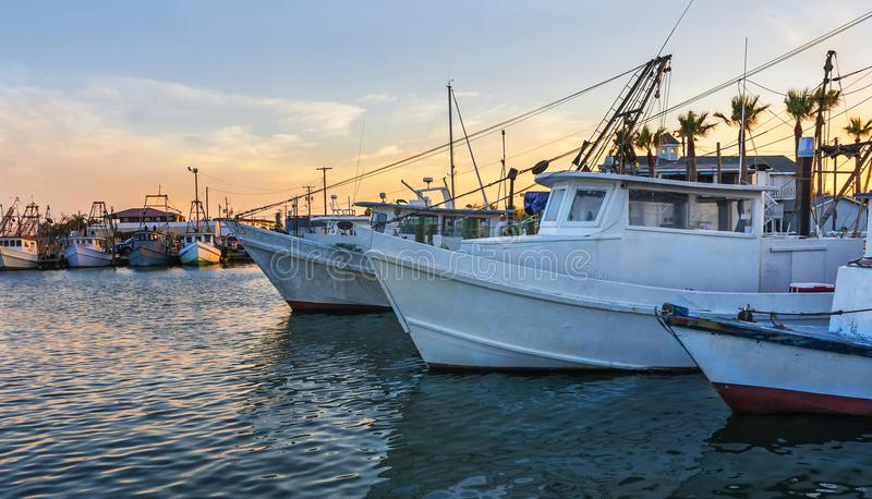Working fishing boats at dawn in Rockport-Fulton harbor, before stock image