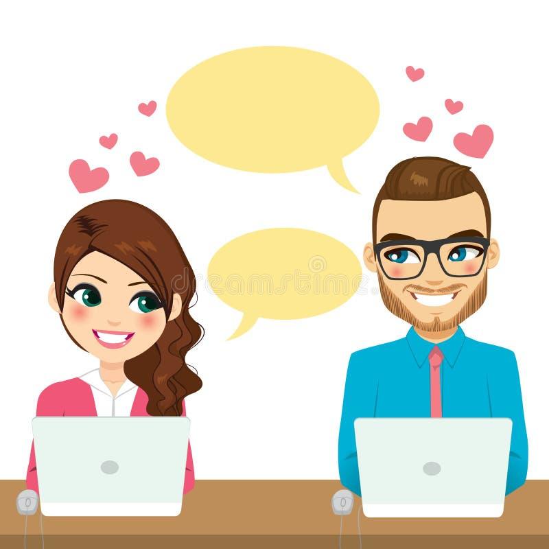 Working Flirting Couple stock illustration