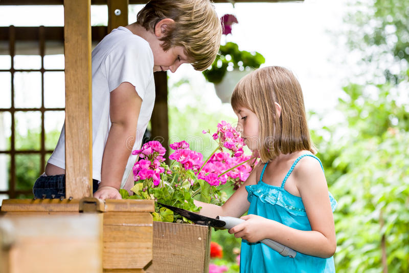 Download Working in the garden stock image. Image of daughter - 26053499