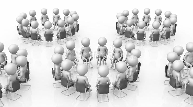 Working groups with 3D figures vector illustration