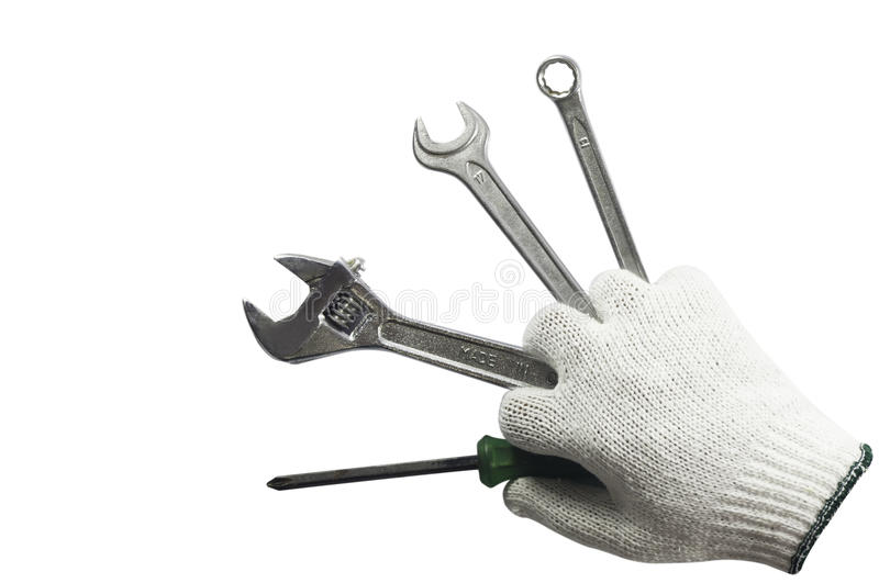 Download Working Hand Holding Many Tools Stock Photo - Image: 21526080
