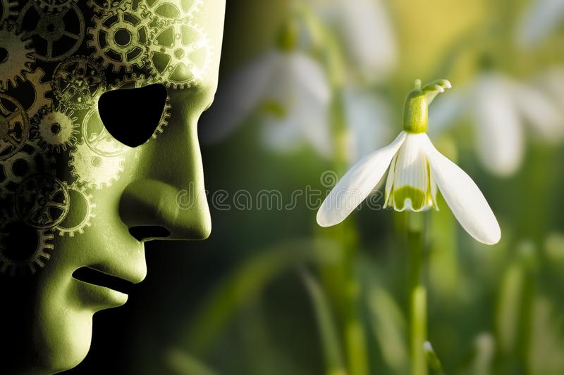 Working in harmony wth nature concept. Working in harmony with nature concept with robotic face mask and brain cogs next to a delicate snowdrop flower in the stock photos