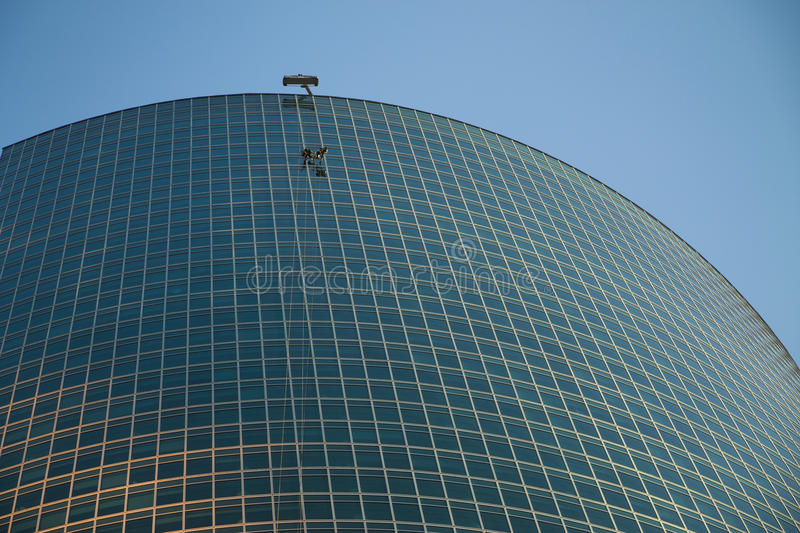 Working on high-altitude tower Business center in Moscow. royalty free stock image