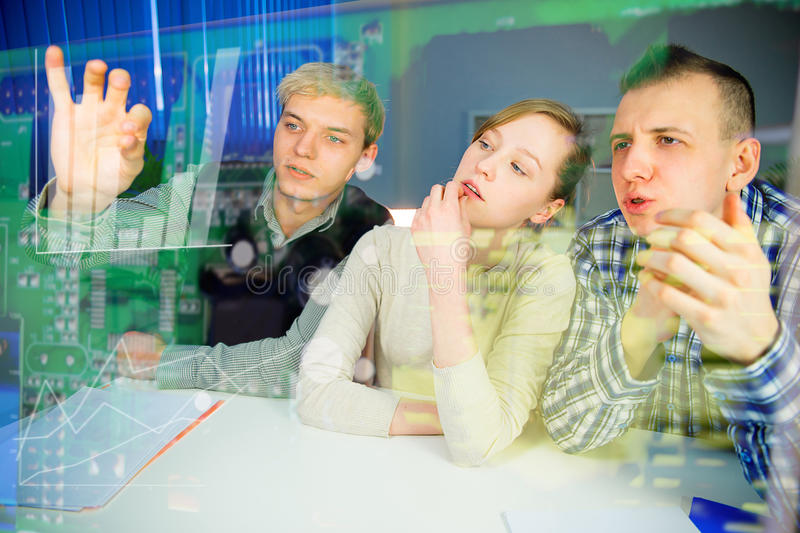 Working with holographic screen royalty free stock photos