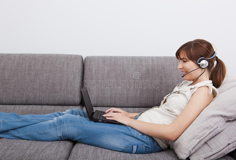 Working at home stock image