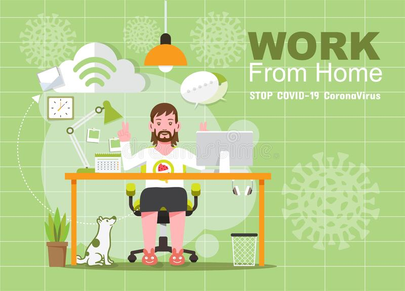 Working from home during Covid-19, Social distancing concept royalty free stock photo