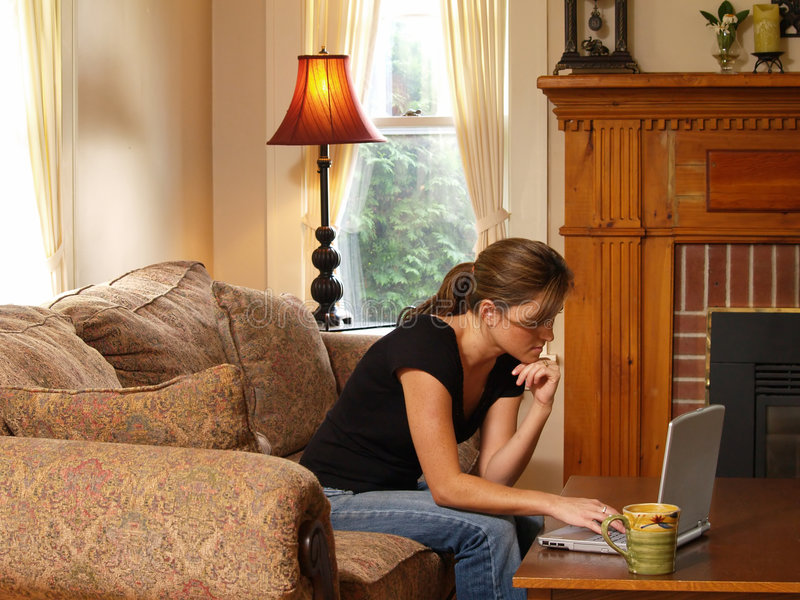 Download Working from Home Mom stock image. Image of bangs, casual - 992589
