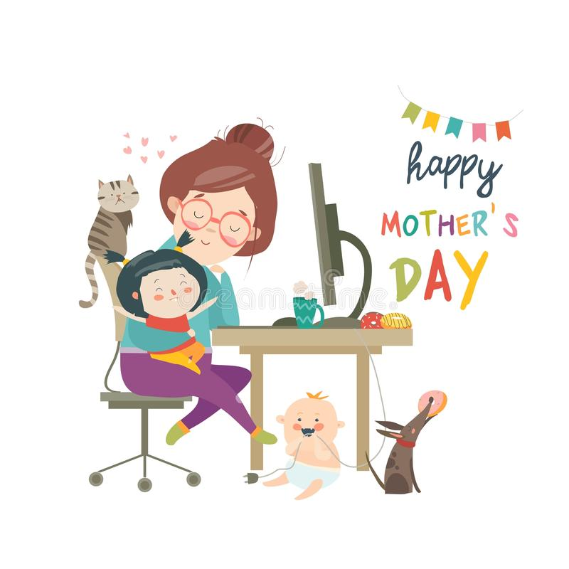 Working at home mother, freelancer with two kids stock illustration