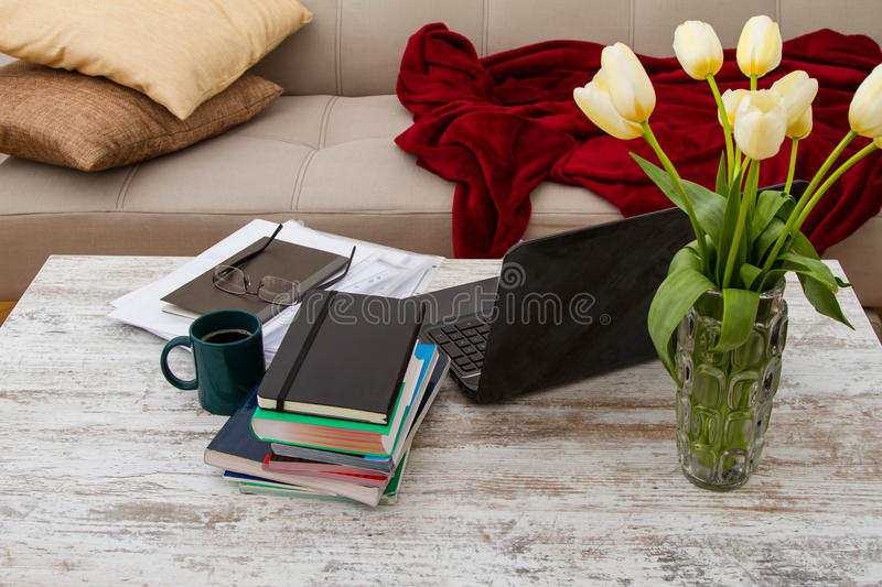 Working at home till late. Working at home with a laptop till late stock photos
