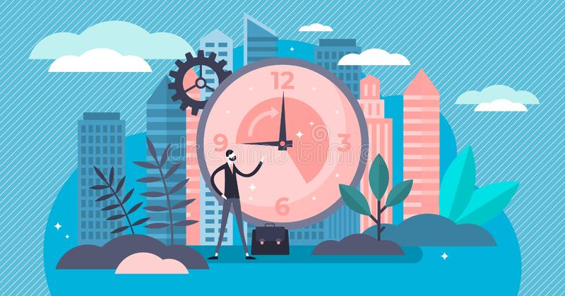 Working hours vector illustration. Tiny classical workweek persons concept. stock illustration