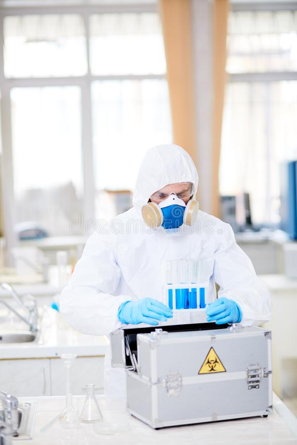 Working in lab stock images