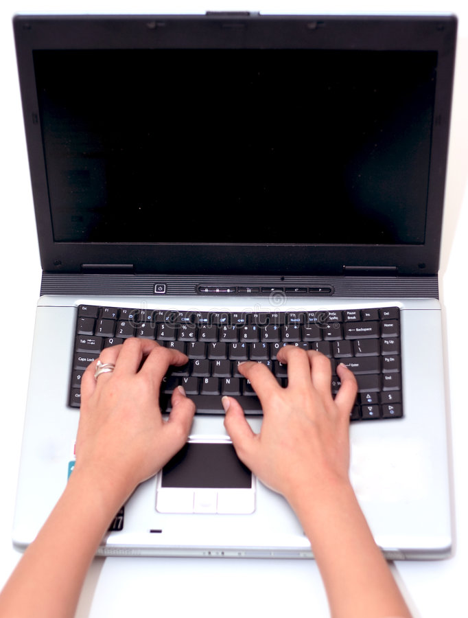 Working with Laptop. Over white for easy selection royalty free stock photography