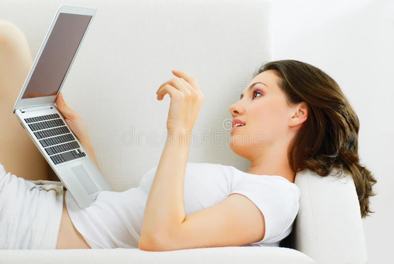 Working in a laptop stock image