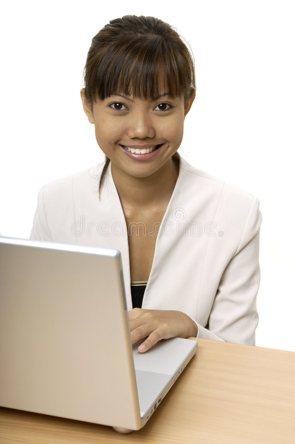 Download Working On Laptop 3 stock image. Image of jacket, happy - 114951
