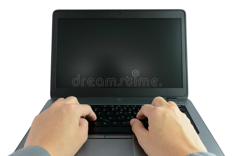 Working on laptop computer stock photos