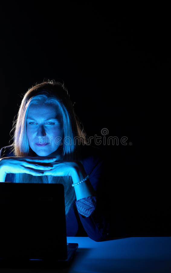 Working late royalty free stock photos