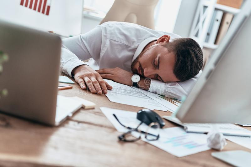 Working late hours. royalty free stock photo