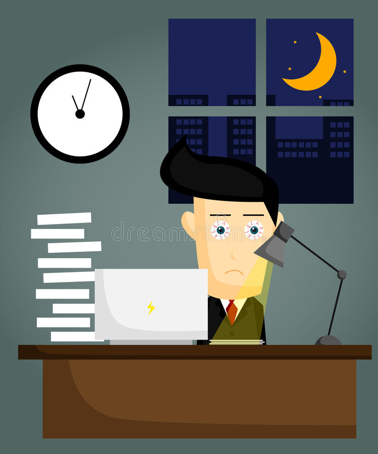 Working Late stock illustration