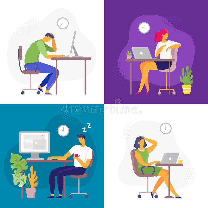 Working late. Overtime work, busy workaholic worker and employees with office laptops. Deadline flat vector illustration vector illustration