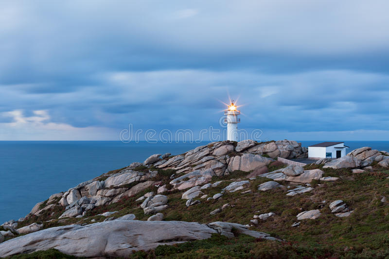Working Lighthouse at Northern Spain in Bad Weather royalty free stock image
