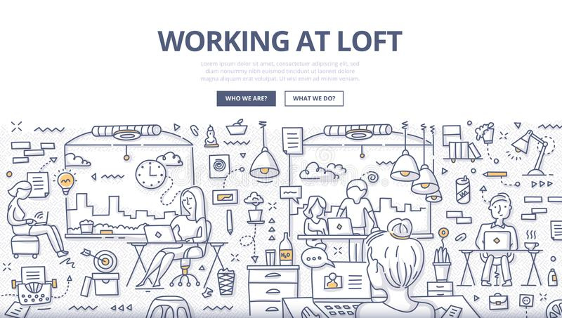 Working at Loft Doodle Concept royalty free illustration
