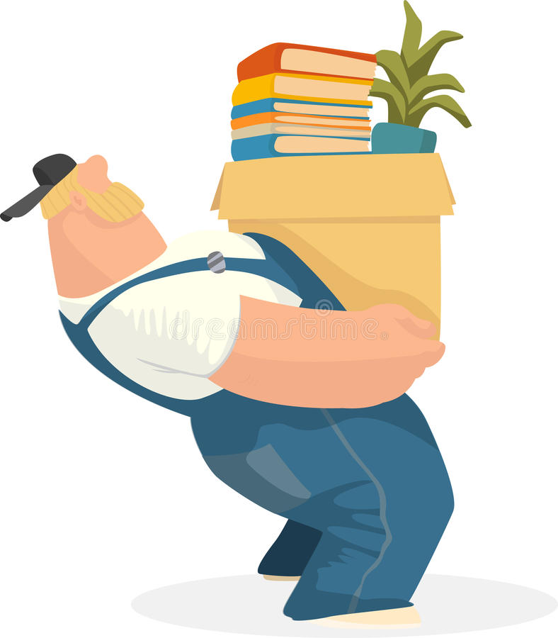 Working man carries a box of books and potted plant EPS 10 stock illustration