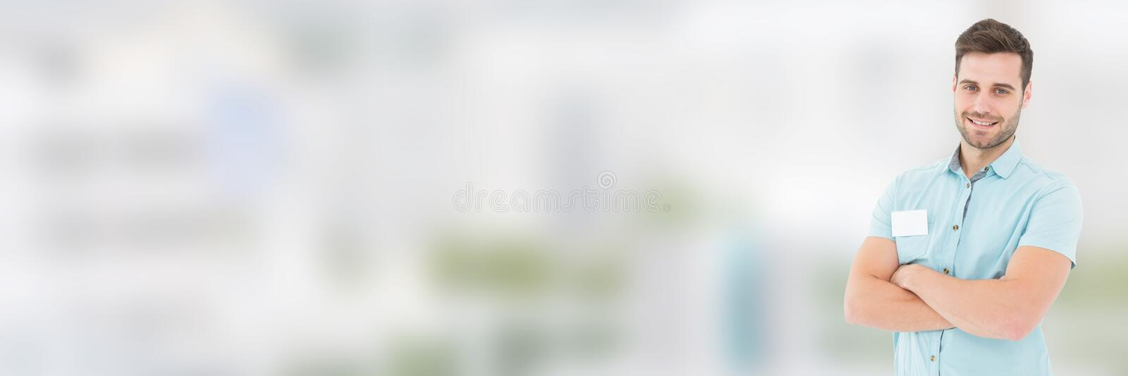 Working man in front of blurred background royalty free stock photo