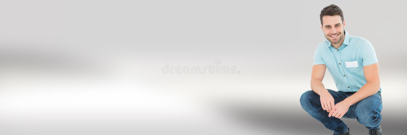 Working man in front of blurred background royalty free stock images