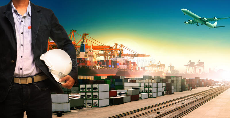 Working man and ship,trains ,plane ,freight cargo logistic and i. Mport,export transportation stock image
