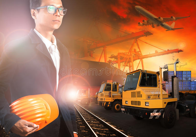 Working man in ship yard and transprtation industry royalty free stock photography