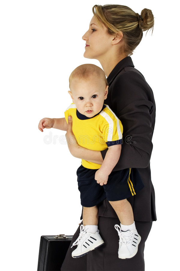 Working Mom. Business woman in suit with briefcase carrying baby in arms