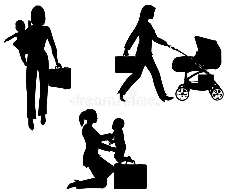 Working Mom With Baby. An illustration featuring a busy working mother with baby on her arm and carrying briefcase, with another walking with baby stroller