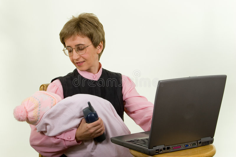 Download Working mother with baby stock image. Image of female, desk - 640227