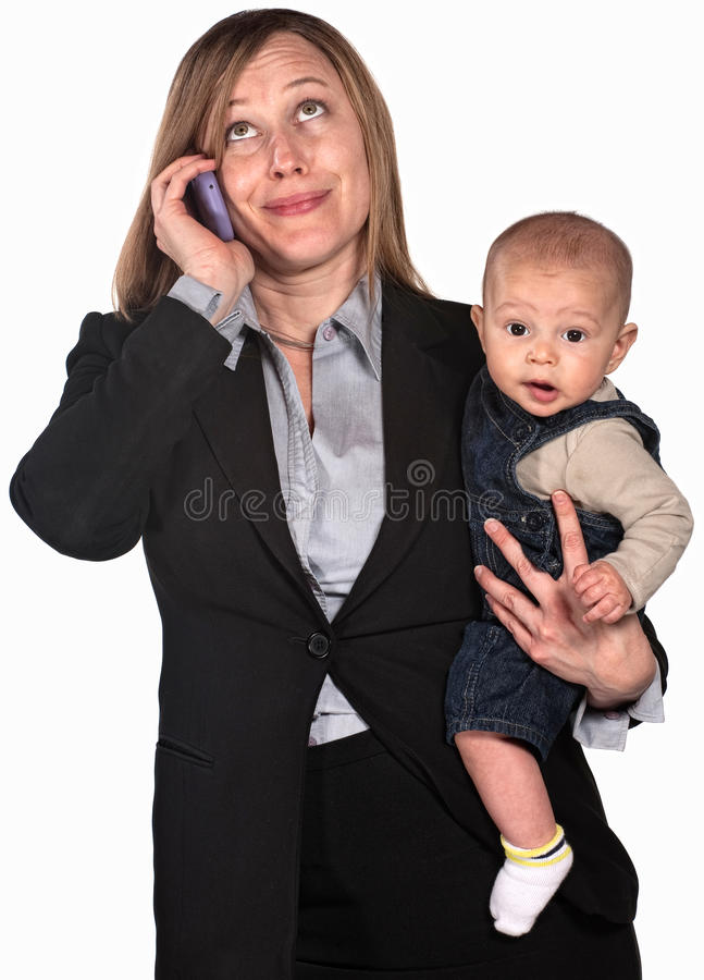 Download Working Mother on Phone stock image. Image of mother - 25437877