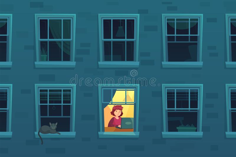 Working at night. Busy workaholic works home at nights when neighbors asleep, lonely man in window frame cartoon vector vector illustration