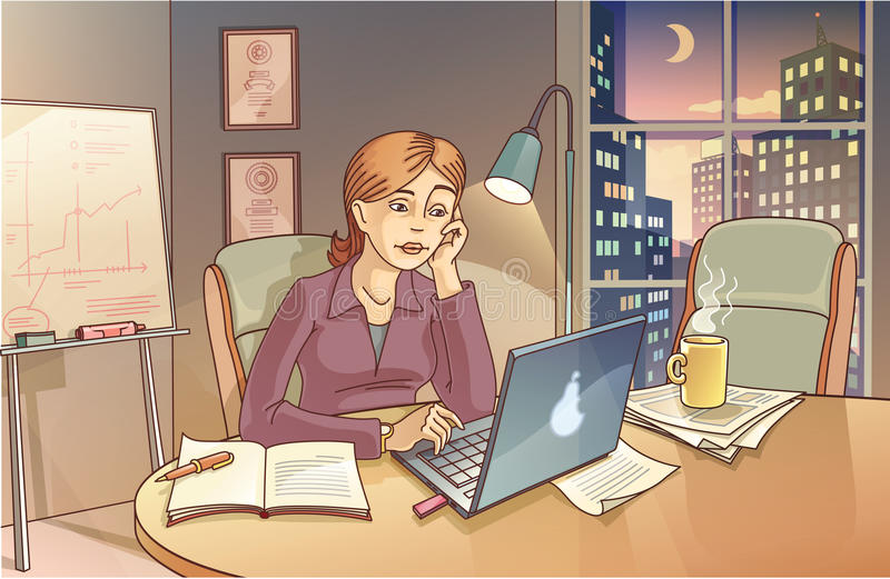 Working at Night stock illustration