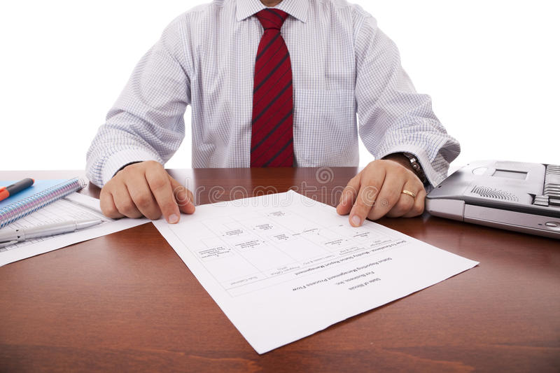 Working at the office. Businessman working at the office royalty free stock photography