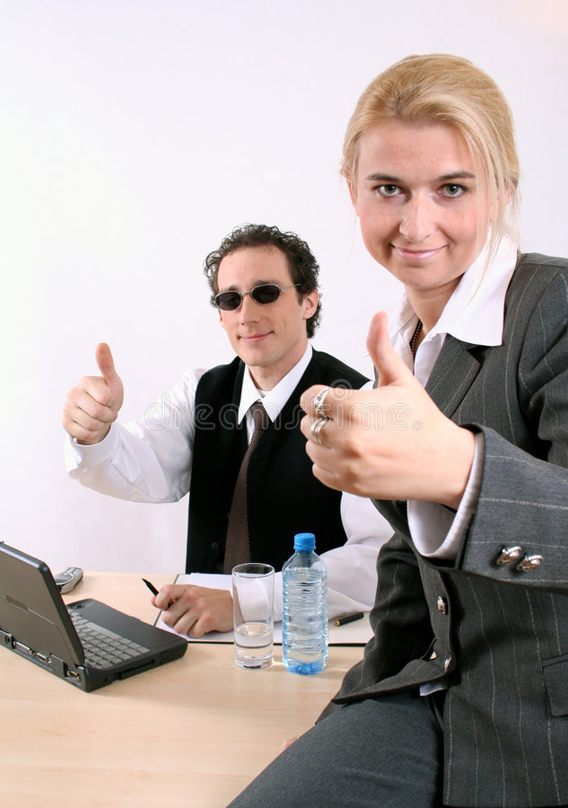 Working at office is cool stock photo