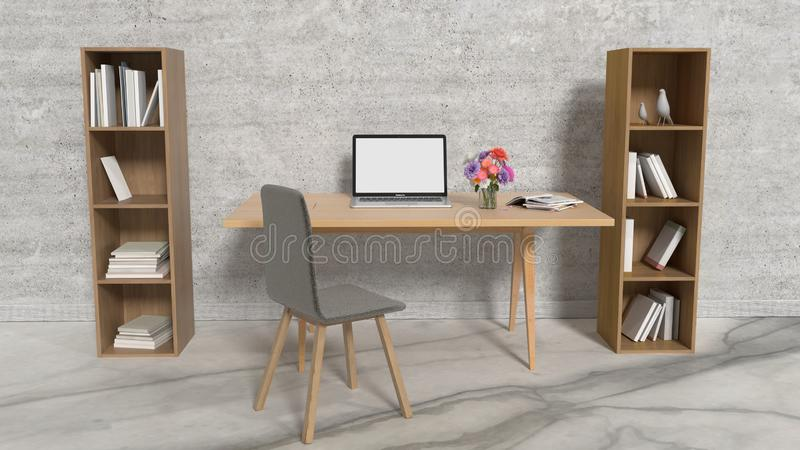 Working office interior design with laptop on table and bookshelf storage. Home and Decoration concept. Architecture and Lifestyle vector illustration