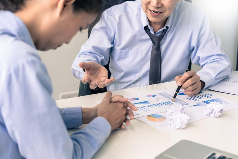 Working in the office. Manager is not satisfied the argument. Bu. Siness complaining in discuss during their no reason about mad group of team After office stock image