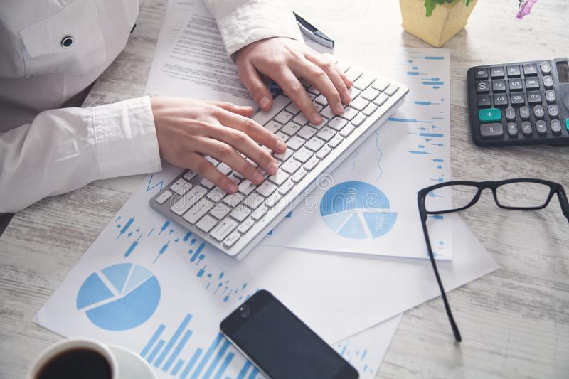 Working in office. Technology and investment stock image