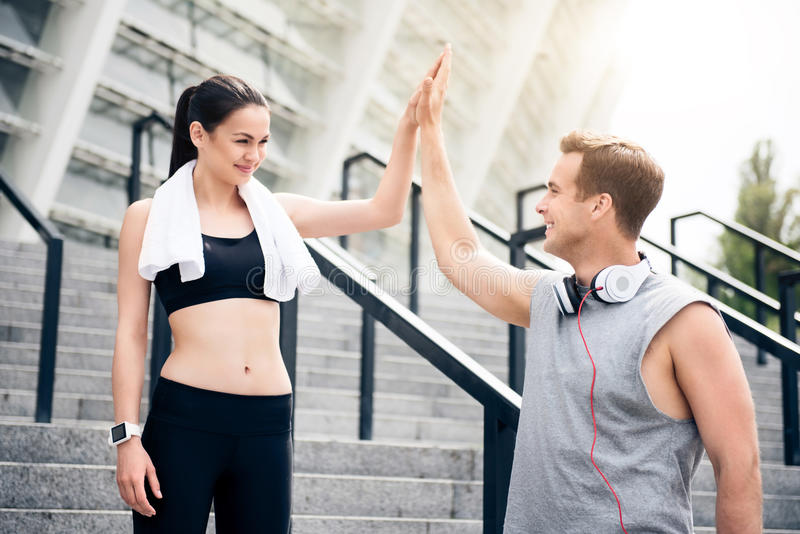 They working out together in city stock photo
