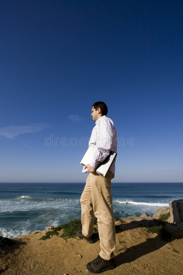 Download Working outdoor stock image. Image of beach, male, metaphor - 4367467