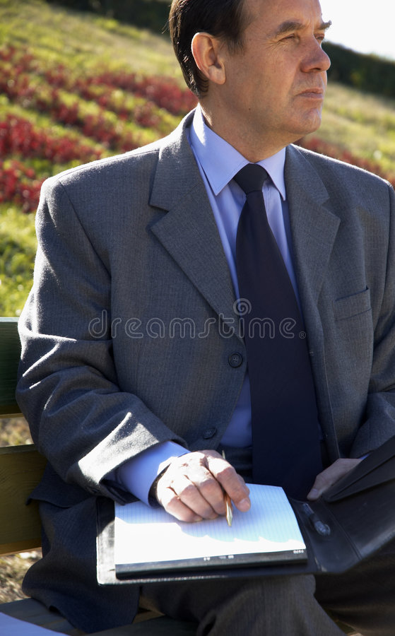 Working outside. Top manager stock image